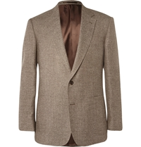 Gieves And Hawkes Brown Slim Fit Silk Linen And Wool Blend Blazer Neutrals