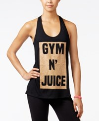 Material Girl Active Juniors' Strappy Graphic Tank Top Only At Macy's Black