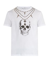 Alexander Mcqueen Skull And Chain Print Cotton T Shirt White