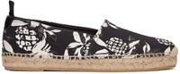 Saint Laurent Black Canvas Hibiscus Espadrilles