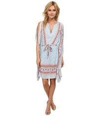 Bcbgmaxazria Alexi Printed Short Kaftan Pale Blue Combo Women's Dress