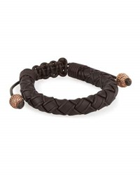 Stephen Webster Men's No Regrets Woven Leather Bracelet Brown
