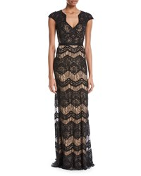 Catherine Deane Katharine Floral Lace V Neck Gown Black Almond