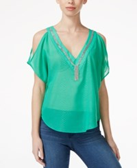 Xoxo Juniors' Embroidered Cold Shoulder Blouse Green
