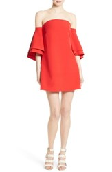 Milly Women's Mila Cady Off The Shoulder Trapeze Dress Tomato