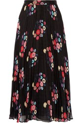 Tanya Taylor Pleated Floral Print Checked Silk Mousseline Maxi Skirt Black