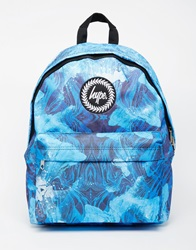 Hype Backpack In Zebra Speckle Print Blue