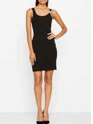 Versus By Versace Bodycon Lion Embellished Strap Dress Black