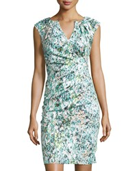 Adrianna Papell Watercolor Print Sheath Dress Blue Multi