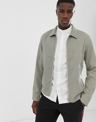 Selected Homme Cotton Blouson Jacket With Mini Grid Check Beige