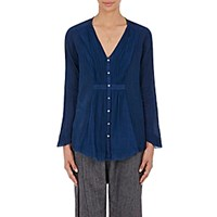 Pas De Calais Women's Crinkled Gauze Blouse Blue
