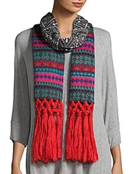 Collection 18 Printed Tassel Trimmed Scarf Navy Mosaic