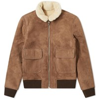 Officine Generale Pilot Shearling Suede Jacket Brown