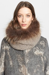 Fabiana Filippi Alpaca Knit Collar With Genuine Fox Fur Trim Brown Beige