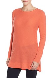 Halogenr Women's Halogen High Low Wool And Cashmere Tunic Sweater Coral Sugar