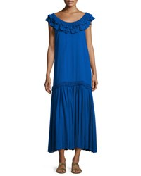 Opening Ceremony Silk Chiffon Ruffle Maxi Dress Royal