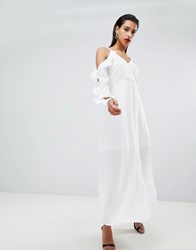 Morgan Cold Shoulder Maxi Dress White