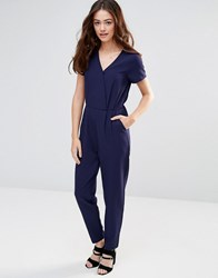 Sugarhill Boutique Natasha Belted Jumpsuit Navy