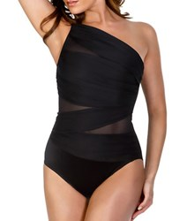 Miraclesuit Solid Semi Sheer One Piece Black