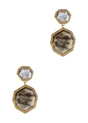 Isharya Gold Plated Drop Earrings Grey