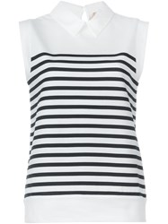 Nao21 Breton Stripe Sleeveless Top White