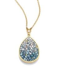 Pleve Marine Ombre Diamond And 18K Yellow Gold Pear Shape Pendant Necklace Blue