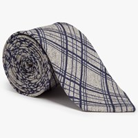 John Lewis Woven In Italy Large Grid Check Silk Cotton Tie Grey