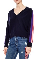 Sandro Side Stripe Wool And Cashmere Sweater Marine