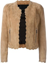 Barbara Bui Scalloped Trim Jacket Nude And Neutrals