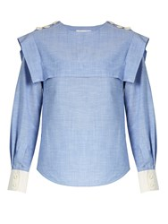 Chloe Sailor Collar Cotton Chambray Blouse Blue
