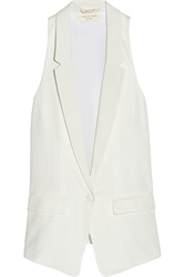 Rag And Bone Ines Oversized Jacquard And Crepe De Chine Vest White