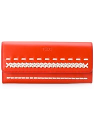 Tod's Stitched Detail Wallet Red