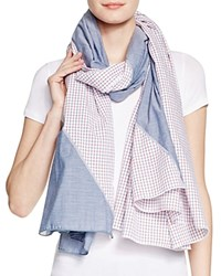 Donni Charm Diagonal Denim Striped Scarf Denim Red Check