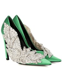 Balenciaga Embellished Satin Pumps Green