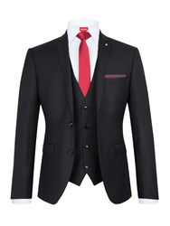 Lambretta Men's Slim Fit Three Piece Suit Black