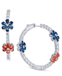 Joan Boyce Flower Crystal Pave Hoop Earrings White