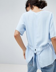 Selected Drop Hem Blouse Blue