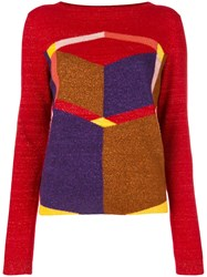 Bottega Veneta Geometric Patterned Jumper Red