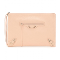 Balenciaga Classic Pouch Metallic Edge Leather Clutch Rose Peche