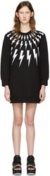 Neil Barrett Black Thunderbolt Fairisle Dress