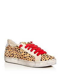 Dolce Vita Zalen Calf Hair Lace Up Sneakers Tan Red