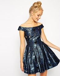 Asos Off Shoulder Jewel Jacquard Bardot Prom Dress Blue