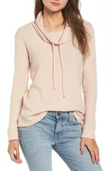 Socialite Women's Cowl Neck Waffle Knit Top Pink Hero