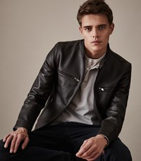 Reiss Sunset Leather Jacket In Brown