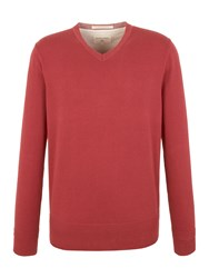 Racing Green Bancroft V Neck Cotton Knit Red