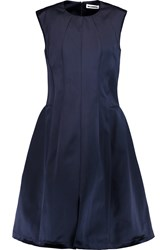 Jil Sander Pleated Satin Dress Blue