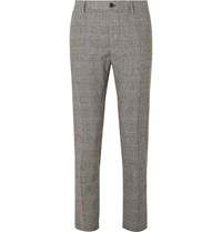 Dolce And Gabbana Slim Fit Prince Of Wales Checked Wool Blend Trousers Gray