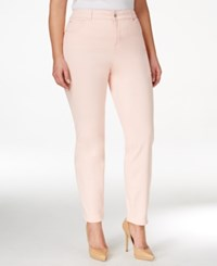 Charter Club Plus Size Tummy Control Pink Cloud Wash Ankle Jeans Only At Macy's