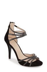 Women's Pelle Moda 'Jolene' Crystal Embellished D'orsay Sandal Black Leather
