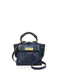 Zac Posen Eartha Iconic Floral Top Handle Mini Crossbody Dark Blue